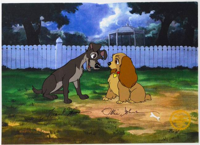 Lady The Tramp Sericel 4 Disney Vintage Castle Fine Art