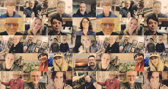 A collage of many of our artists in their studos, including Raphael Mazzucco and Pascale Taurua
