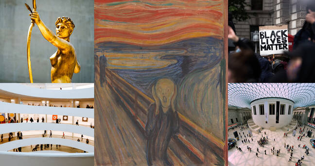 Art news collage, featuring Edvard Munch s  The Scream  and scenes from museums including the Guggenheim