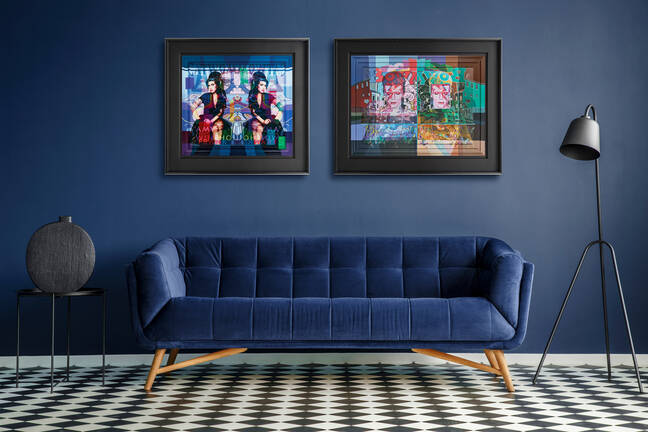 Stuart McAlpine Miller's two Spring/Summer 2021 artworks are pictured in a modern room with navy walls and a navy sofa